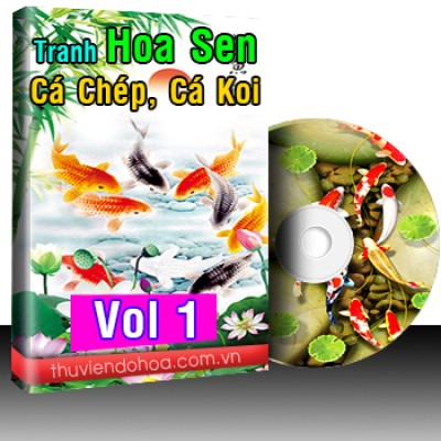Tranh hoa sen, cá chép cá koi Vol 1(570 mẫu)